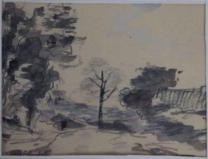 Roland OUDOT (1897-1981).  Paysage aux grands...
