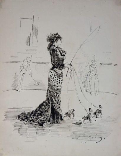 Henry SOMM (1844-1907).  Au cirque.  Encre...