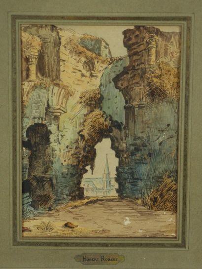 Ecole française du XVIIIème siècle.  Ruines...