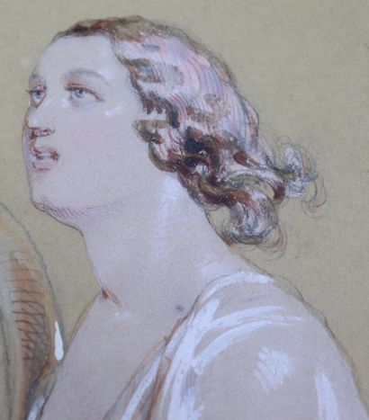Paul GAVARNI (1804-1866)  Femme musicienne jouant de la lyre.  Dessin au crayon...