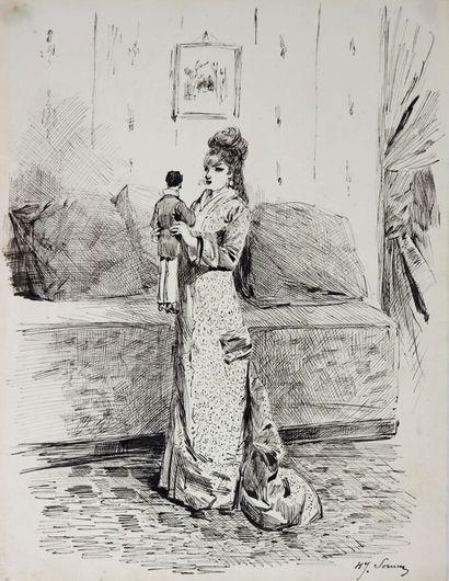 Henry SOMM (1844-1907).  Elégante à la marionnette....
