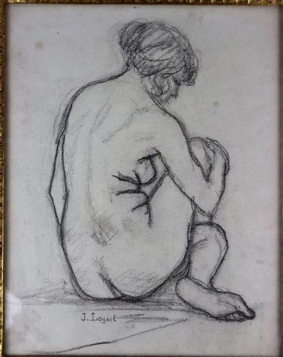 Jacques LOYSEL (1867-1925).  Nu assis.  Dessin...