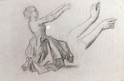 Ecole française du XIXème siècle.  Danseuse...
