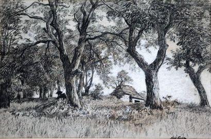 Louis LEMAIRE (1824-1910).  Chaumière dans...