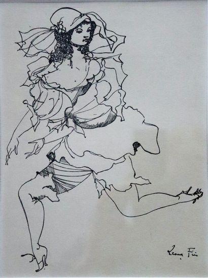 Leonor FINI (1907-1996).  Femme.  Dessin...