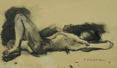 Pavel TCHELITCHEW (1898-1957).  Homme nu...