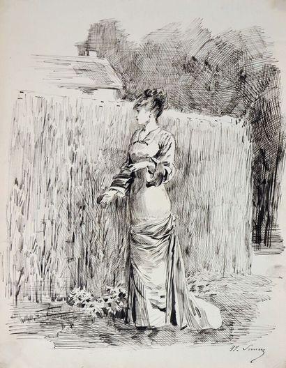 Henry SOMM (1844-1907).  Rêverie.  Encre...