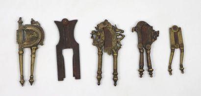 Collection de cinq ciseaux à bétel  Laiton...