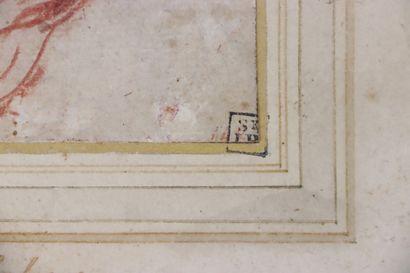 Ecole italienne du XVIIème siècle  Tête de jeune homme  Sanguine  12,9 x 12,5 cm...