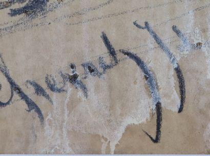 Edouard CHEVRET (1835-1874).  Deux clairons.  Fusain.  Signé et daté 71 en bas à...