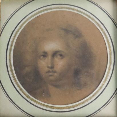 Claude Jean-Baptiste HOIN (Dijon 1750-1817)  Portrait de femme.  Crayon et rehauts...