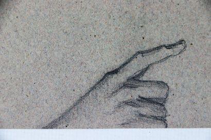 Ecole française du XIXème siècle.  Portrait de jeune femme.  Crayon sur papier brun...
