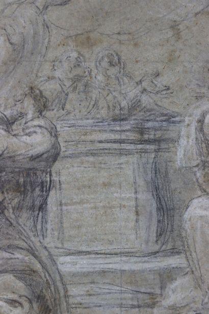 Ecole française du XVIIIème siècle  Ascension de la Vierge  Pierre noire et craie...