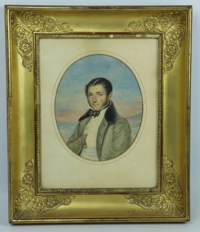 Ecole française vers 1830.  Portrait d'homme...