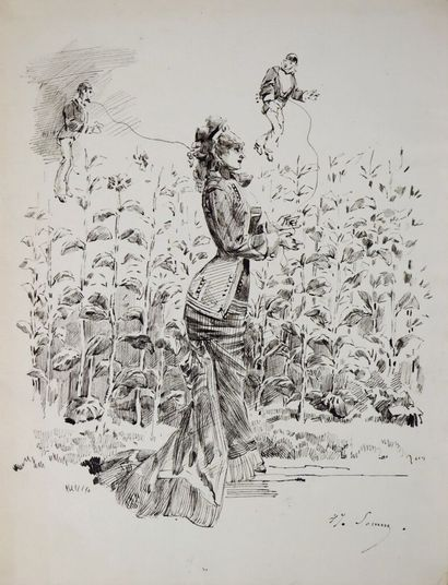Henry SOMM (1844-1907).  Elégante aux marionnettes....