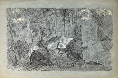 Ecole française du XIXème siècle.  Les rochers...