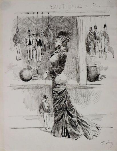 Henry SOMM (1844-1907).  La boutique de marionnettes....