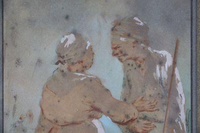 Paul GAVARNI (1804-1866).  Causerie.  Aquarelle, encre et rehauts de gouache sur...