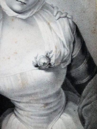 Ecole française du XIXème siècle.  La consolation.  Crayon su papier.  H_19,3 cm...