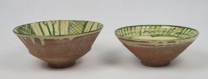 Deux coupes persanes  Pâte siliceuse à décor...