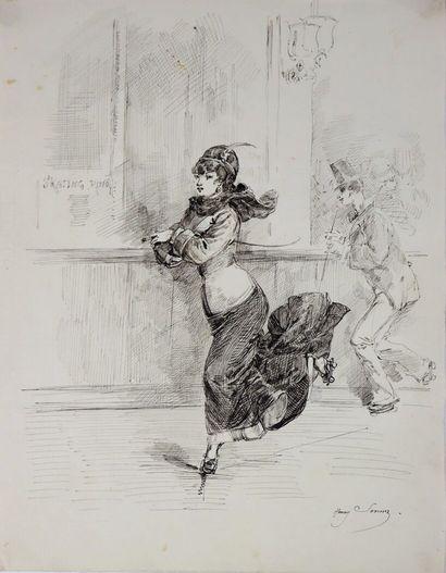 Henry SOMM (1844-1907).  Skating Ring.  Encre...