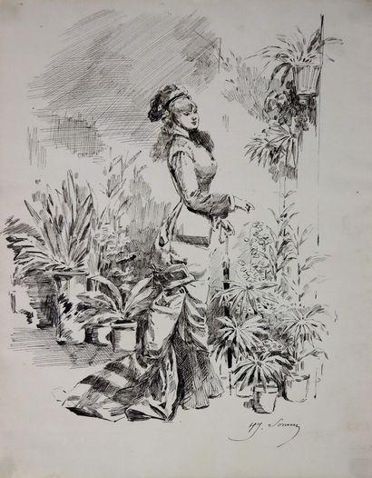 Henry SOMM (1844-1907).  Elégante au parapluie....