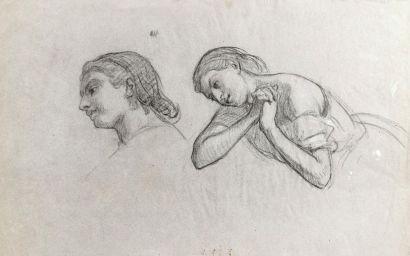 Ecole française du XIXème siècle.  Deux profils...