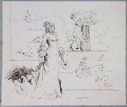 Henry SOMM (1844-1907).  Elégante à l'éventail....