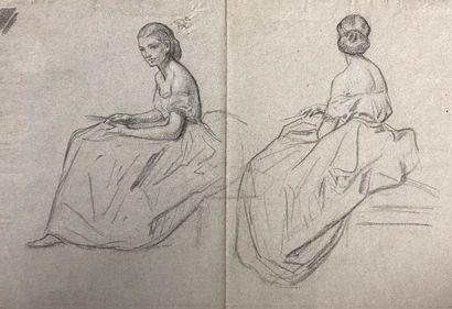 Ecole française du XIXème siècle.  Jeune...