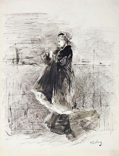 Henry SOMM (1844-1907).  Elégante au manteau....