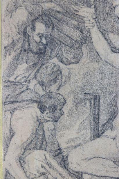 Auguste JEANRON (1808-1877), attribué à.  Scène de martyre  Crayon noir  25 x 19,3...