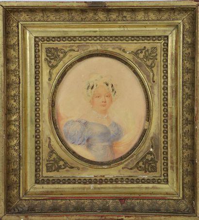 E. W. THOMSON (1770-1847)  Portrait de femme.  Crayons et rehauts de gouache sur...