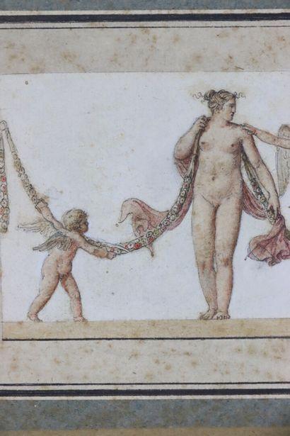 Ecole française du XIXème siècle.  Projet de frise figurant des femmes nues et des...