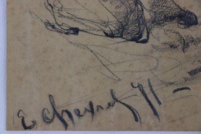 Edouard CHEVRET (1835-1874).  Grenadier.  Fusain.  Signé et daté 71 en bas à gauche....