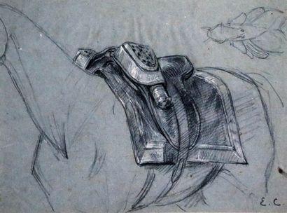 Louis Eugène CHARPENTIER (1811-1890).  Etudes de soldats et cheval.  Réunion de...