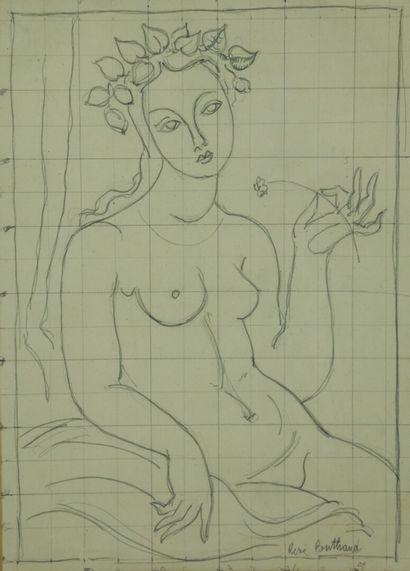 René BUTHAUD (1886-1986).  Flore, probable...