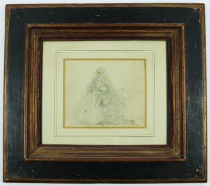 Eugène ISABEY (1804-1886).  Le pardon.  Dessin au crayon, signé en bas à droite....