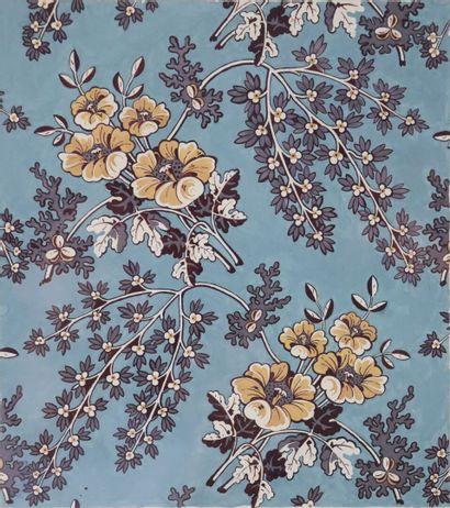 Raoul DUFY (1877-1953).  Fleurs sur fond...