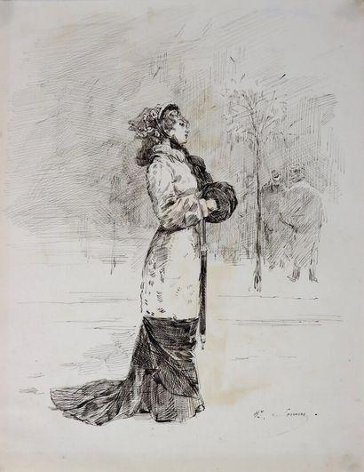 Henry SOMM (1844-1907).  La frileuse.  Encre...
