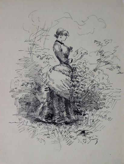 Henry SOMM (1844-1907).  Jeune femme à la...