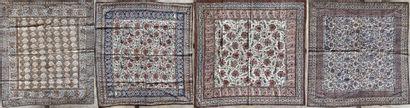 Quatre Kalamkar  Coton peint et imprimé en...