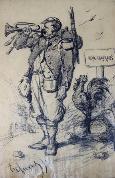 Edouard CHEVRET (1835-1874).  Deux clairons....