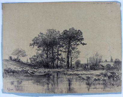 Camille FLERS (1802-1868)  Les arbres pris sur la gauche.  Fusain.  Signé en bas...