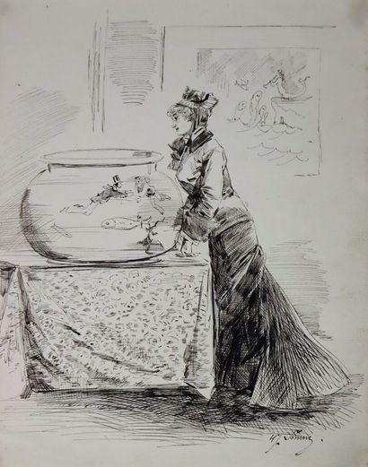 Henry SOMM (1844-1907).  Elégante aux poissons....