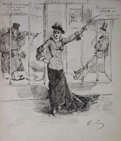Henry SOMM (1844-1907).  La Ménagerie.  Encre...