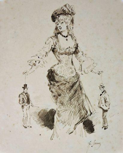Henry SOMM (1844-1907).  La marionnetiste....