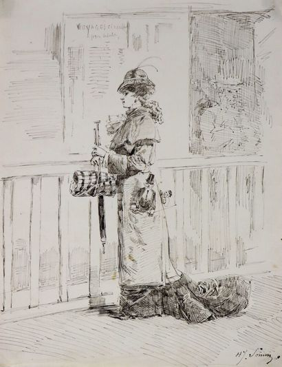 Henry SOMM (1844-1907).  Sur le quai de la...