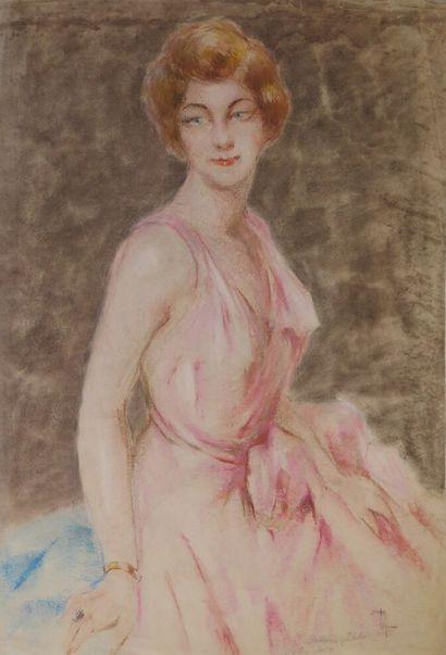 Louis AZNARD (1889 - ?).  Portrait de Madame...