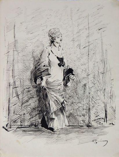Henry SOMM (1844-1907).  Le levé.  Encre...