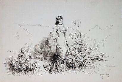 Henry SOMM (1844-1907).  Elégante au jardin....